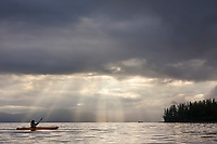 Kayaking along the shores of Knight Island, Prince William Sound, Chugach National Forest, southcentral, Alaska.