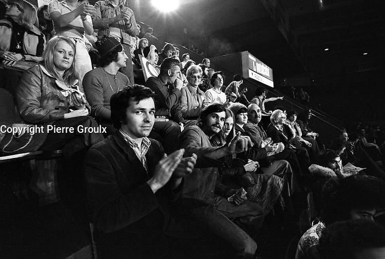 November 15, 1976 file photo - Montreal (QC) CANADA -<br /> <br /> Parti Quebecois win the provincial 1976 election at Centre Paul Sauvee