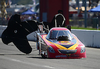 Sept. 29, 2012; Madison, IL, USA: NHRA funny car driver Jim Head during qualifying for the Midwest Nationals at Gateway Motorsports Park. Mandatory Credit: Mark J. Rebilas-