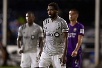 LAKE BUENA VISTA, FL - JULY 25: Orji Okwonkwo #18 of the Montreal Impact waits for the corner kick during a game between Montreal Impact and Orlando City SC at ESPN Wide World of Sports on July 25, 2020 in Lake Buena Vista, Florida.