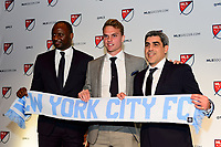 Philadelphia, PA - Friday January 19, 2018: Patrick Vieira, Jeff Caldwell, Claudio Reyna during the 2018 MLS SuperDraft at the Pennsylvania Convention Center.