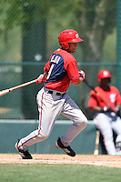 Washington Nationals second baseman Bryan Mejia (9) during a minor league spring training game against the Atlanta Braves on March 26, 2014 at Wide World of Sports in Orlando, Florida.  (Mike Janes/Four Seam Images)