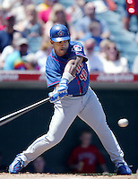 Raul Mondesi of the Toronto Blue Jays bats during a 2002 MLB season game against the Los Angeles Angels at Angel Stadium, in Anaheim, California. (Larry Goren/Four Seam Images)