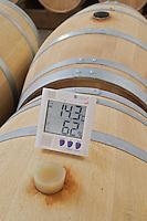 silicone bung on barrel white wine barrel cellar chateau la garde pessac leognan graves bordeaux france