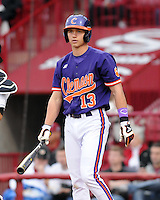 Infielder Jay Baum (13) of the Clemson Tigers in a game against the South Carolina Gamecocks on March 3, 2012, at Carolina Stadium in Columbia, South Carolina. Carolina won, 9-6. (Tom Priddy/Four Seam Images)