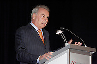 Montreal (QC) CANADA, May 5, 2008 -<br /> <br />  ALAIN BOUCHARD, CHAIRMAN OF THE BOARD, PRESIDENT AND CHIEF<br />                EXECUTIVE OFFICER OF ALIMENTATION COUCHE-TARD INC., AT THE<br />                CANADIAN CLUB OF MONTREAL'S PODIUM.<br /> <br /> Alimentation Couche-Tard Inc. is the Canadian convenience-store industry<br /> leader with a network of: 5,690 stores, of which 3,440 have fuel stations. The<br /> company has stores in 11 major territories - eight in 29 U.S. states and three<br /> across six Canadian provinces. Over 45,000 people work for Couche-Tard's<br /> network of stores and service stations.<br />     Often praised as the Wal-Mart of convenience stores, this star of our<br /> economy has enjoyed increasing success in the United States, especially with<br /> the acquisition of the Circle K chain in 2003, which launched Couche-Tard into<br /> the ranks of Multinational Corporation.<br />     A decentralized operating structure that promotes fast decision-making,<br /> great expertise in distribution and cost control, and finally an<br /> entrepreneurial culture, has garanteed this company an impressive expansion<br /> pace seen in recent years, for which it can be very proud.<br />     As an accomplished businessman, Alain Bouchard and his management team<br /> continue to set a brisk pace for the company's vigorous growth.<br /> <br /> <br /> <br /> <br /> photo : (c) ¨Pierre Roussel -  images Distribution