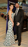 The City of Edmonton received a couture gown presented by prominent New York Designer, Michael Kaye (right) in Canada's Cultural Capital City on Friday. The gown features the official City of Edmonton tartan. Edmonton is the only Canadian city to be presented with one of Kaye's high-fashion gowns. (CNW Group/City of Edmonton)