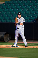 Jackson Generals first baseman Kevin Cron (50) during a game against the Chattanooga Lookouts on April 27, 2017 at The Ballpark at Jackson in Jackson, Tennessee.  Chattanooga defeated Jackson 5-4.  (Mike Janes/Four Seam Images)