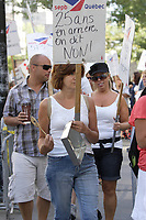 July 2012 File Photo - Montreal, Quebec,  CANADA -   members of '' la Commission de la construction du Quebec Section locale 573'' demonstrate in front of Minister of Labour Lise Theriault office.<br /> <br /> Photo : Agence Quebec Presse