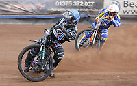 Heat 3: Alfie Bowtell (blue) and Connor Coles (white)<br /> <br /> Photographer Rob Newell/CameraSport<br /> <br /> National League Speedway - Lakeside Hammers v Eastbourne Eagles - Lee Richardson Memorial Trophy, First Leg - Friday 14th April 2017 - The Arena Essex Raceway - Thurrock, Essex<br /> © CameraSport - 43 Linden Ave. Countesthorpe. Leicester. England. LE8 5PG - Tel: +44 (0) 116 277 4147 - admin@camerasport.com - www.camerasport.com