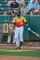 Jo Adell (26) of the Salt Lake Bees waits on deck against the Oklahoma City Dodgers at Smith's Ballpark on August 1, 2019 in Salt Lake City, Utah. The Bees defeated the Dodgers 14-4. (Stephen Smith/Four Seam Images)