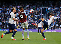 3rd October 2021; Tottenham Hotspur Stadium. Tottenham, London, England; Premier League football, Tottenham versus Aston Villa: Bryan Gil of Tottenham Hotspur kicks the ball over Douglas Luiz of Aston Villa