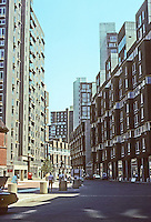 New York City: Roosevelt Island, East River--Main Street. Photo '78.