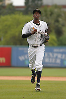 Charleston RiverDogs shortstop Jorge Mateo (2) during a game against the Augusta GreenJackets at Joseph P.Riley Jr. Ballpark on April 15, 2015 in Charleston, South Carolina. Charleston defeated Augusta 8-0. (Robert Gurganus/Four Seam Images)