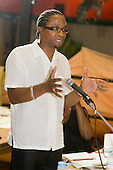 Author Brian Richardson addresses a 'Tell It Like It Is' meeting at the Yaa Asantewaa Centre in North Paddington: part of a national campaign questioning the under-achievement of black children in schools.