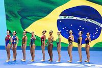 Brazil BRA<br /> BORGES Luisa BRUNO Maria<br /> CASALE Vitoria CATHARINO Jullia<br /> MICCUCI Laura MICCUCI M.E.<br /> MOLINOS Lorena REGLY Gabriela<br /> STEPHAN Giovana VELOSO Anna Giulia<br /> Gwangju South Korea 18/07/2019<br /> Artistic Swimming Free Combination Preliminaries<br /> 18th FINA World Aquatics Championships<br /> Yeomju Gymnasium <br /> Photo © Giorgio Scala / Deepbluemedia / Insidefoto