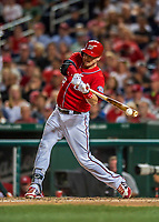 29 July 2017: Washington Nationals catcher Matt Wieters in action against the Colorado Rockies at Nationals Park in Washington, DC. The Rockies defeated the Nationals 4-2 in the first game of their 3-game weekend series. Mandatory Credit: Ed Wolfstein Photo *** RAW (NEF) Image File Available ***