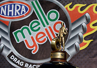 Jun. 2, 2013; Englishtown, NJ, USA: Detailed view of the Mello Yello logo and trophy won by NHRA top fuel dragster driver Shawn Langdon after winning the Summer Nationals at Raceway Park. Mandatory Credit: Mark J. Rebilas-