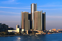 The Detroit Renaissance Center along the Detroit River, 07-0525, City. Detroit Michigan United States Renaissance Center.