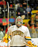20 February 2009: University of Vermont Catamount goaltender Rob Madore, a Freshman from Venetia, PA, prepares for the start of play against the University of Massachusetts River Hawks in the first game of a weekend series at Gutterson Fieldhouse in Burlington, Vermont. The teams battled to a 3-3 tie. Mandatory Photo Credit: Ed Wolfstein Photo