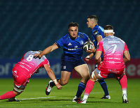 2nd October 2020; RDS Arena, Dublin, Leinster, Ireland; Guinness Pro 14 Rugby, Leinster versus Dragons; Ronan Kelleher (Leinster) hands off a tackle from Ross Moriarty (Dragons) before being tackled by Harrison Keddie (Dragons)