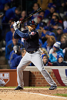 Cleveland Indians Coco Crisp (4) bats in the sixth inning during Game 5 of the Major League Baseball World Series against the Chicago Cubs on October 30, 2016 at Wrigley Field in Chicago, Illinois.  (Mike Janes/Four Seam Images)