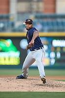 Toledo Mud Hens relief pitcher Sandy Baez (47) in action against the Charlotte Knights at BB&T BallPark on April 24, 2019 in Charlotte, North Carolina. The Knights defeated the Mud Hens 9-6. (Brian Westerholt/Four Seam Images)