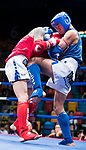 Sun Chih Chin (Red) of Taiwan fights against Sundui Batjargal (Blue) of Mongolia in the male muay 67KG division weight bout during the East Asian Muaythai Championships 2017 at the Queen Elizabeth Stadium on 13 August 2017, in Hong Kong, China. Photo by Yu Chun Christopher Wong / Power Sport Images