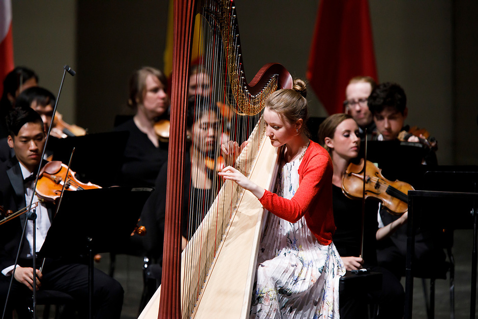Mathilde Wauters of Belgium performs with the Indiana University Summer Philharmonic Orchestra during the Stage IV concert at the 11th USA International Harp Competition at Indiana University in Bloomington, Indiana on Saturday, July 13, 2019. (Photo by James Brosher)