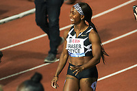 26th August 2021; Lausanne, Switzerland;  Shelly-Ann Fraser-Pryce after winning the womens 100m during Diamond League athletics meeting  at La Pontaise Olympic Stadium in Lausanne, Switzerland.