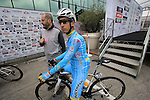 Fabio Aru (ITA) Astana at sign on for the start of the 2015 96th Milan-Turin 186km race starting at San Giuliano Milanese, Italy. 1st October 2015.<br /> Picture: Eoin Clarke | Newsfile
