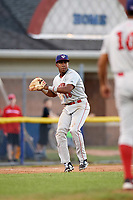 Auburn Doubledays third baseman Omar Meregildo (18) throws to first base for the out during a game against the Batavia Muckdogs on June 19, 2017 at Dwyer Stadium in Batavia, New York.  Batavia defeated Auburn 8-2 in both teams opening game of the season.  (Mike Janes/Four Seam Images)