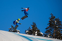 12th February 2021; Idre Fjall, Sweden;  Michela Moioli L of Italy and Charlotte Bankes of Britain compete during the womens snowboard cross final at the FIS ski cross and snowboard cross World Championships in Idre Fjall, Sweden