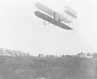 Orville demonstrating the flyer to the U.S. Army, Fort Myer, Virginia September 1908. Photo: by C.H. Claudy.<br /> <br /> Wright Type A Airplane - Orville Wright at Ft. Myer, Va. - Sept. 9, 1908