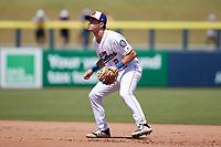 Kannapolis Cannon Ballers second baseman Shawn Goosenberg (2) on defense against the Lynchburg Hillcats at Atrium Health Ballpark on August 29, 2021 in Kannapolis, North Carolina. (Brian Westerholt/Four Seam Images)