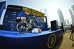 Vittorio Brumotti uses Anthony McCrossan as a prop at sign on before the start of Stage 3 The Silicon Oasis Stage of the Dubai Tour 2018 the Dubai Tour's 5th edition, running 180km from Skydive Dubai to Fujairah, Dubai, United Arab Emirates. 7th February 2018.<br /> Picture: LaPresse/Massimo Paolone   Cyclefile<br /> <br /> <br /> All photos usage must carry mandatory copyright credit (© Cyclefile   LaPresse/Massimo Paolone)