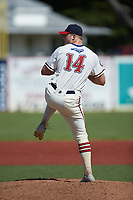 High Point-Thomasville HiToms pitcher Alex Hoppe (14) (UNCG) in action against the Old North State League West All-Stars at Hooker Field on July 11, 2020 in Martinsville, VA. The HiToms defeated the Old North State League West All-Stars 12-10. (Brian Westerholt/Four Seam Images)