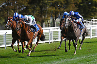 Winner of The PKF Francis Clark British EBF Novice Stakes (Plus 10) (Div 1) Bellocio(right)  ridden by David Egan and trained by David Menuisier  during Horse Racing at Salisbury Racecourse on 1st October 2020