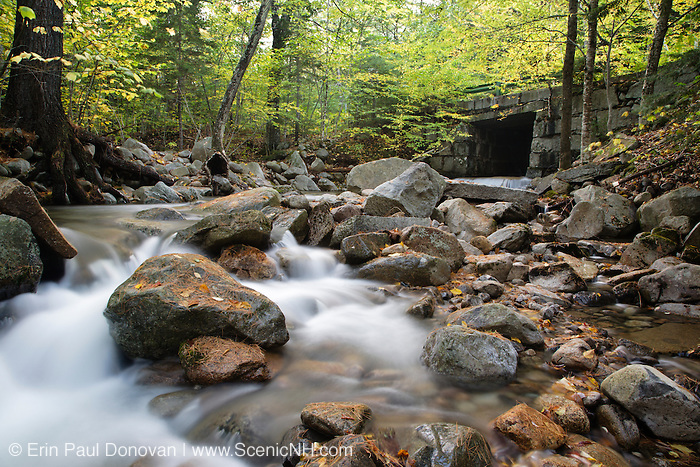 Stone bridge which crosses Big Brook along Dugway Road in the White Mountain National Forest of New Hampshire USA during the autumn months