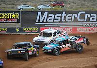 Mar. 20, 2011; Chandler, AZ, USA;  LOORRS pro four driver Curt Leduc (43) and Carl Renezeder (17) follow Kyle Leduc during round two at Firebird International Raceway. Mandatory Credit: Mark J. Rebilas-