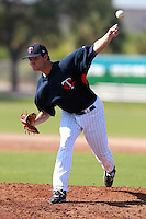Minnesota Twins minor league pitcher Sam Sprangler delivers a pitch during a game vs. the Boston Red Sox in an Instructional League game at Lee County Sports Complex in Fort Myers, Florida;  October 1, 2010.  Photo By Mike Janes/Four Seam Images
