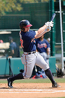 Outfielder Matt Lipka (57) of the Atlanta Braves farm system in a Minor League Spring Training intrasquad game on Wednesday, March 18, 2015, at the ESPN Wide World of Sports Complex in Lake Buena Vista, Florida. (Tom Priddy/Four Seam Images)