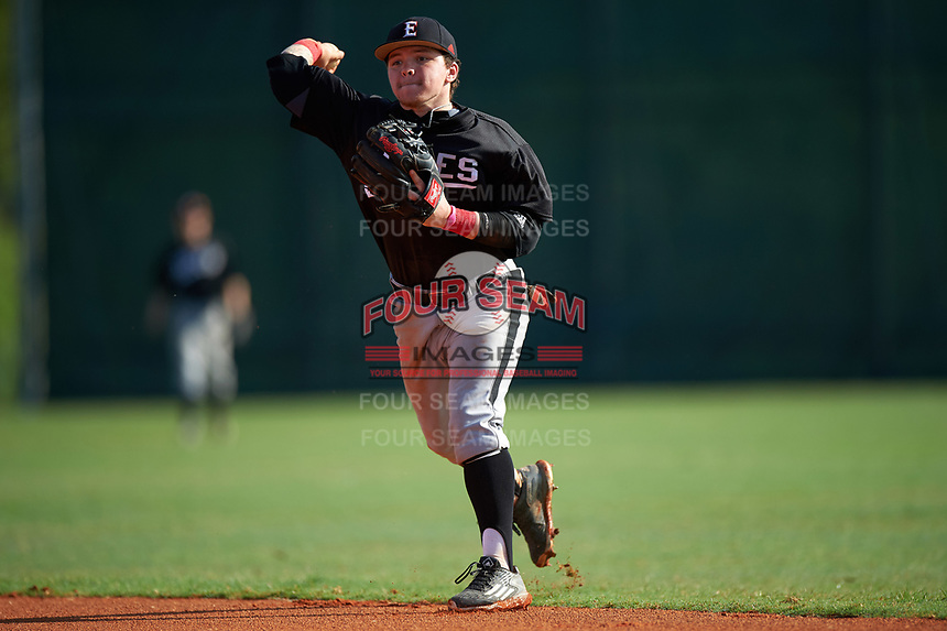 Edgewood Eagles Nik Visone (24) during the first game of a doubleheader against the Plymouth State Panthers on April 17, 2016 at Lee County Player Development Complex in Fort Myers, Florida.  Plymouth State defeated Edgewood 6-5.  (Mike Janes/Four Seam Images)