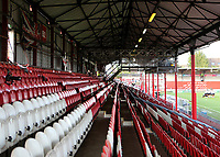 General view of the New Road Stand on Brentford's last ever match at Griffin Park. The game was played behind closed doors due to the Coronavirus Pandemic during Brentford vs Swansea City, Sky Bet EFL Championship Play-Off Semi-Final 2nd Leg Football at Griffin Park on 29th July 2020
