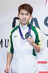 Ieong Pan of Macau poses for photo with his silver metal at the prize presentation of the male muay 51KG division weight bout during the East Asian Muaythai Championships 2017 at the Queen Elizabeth Stadium on 13 August 2017, in Hong Kong, China. Photo by Yu Chun Christopher Wong / Power Sport Images