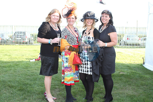 Suzanne Collins, Ruth Kelly, Louise Boylan and Patricia Keenan at the Bellewstown Races..Picture Jenny Matthews/Newsfile.ie