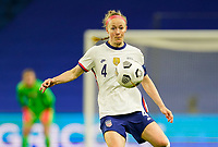 LE HAVRE, FRANCE - APRIL 13: Becky Sauerbrunn #4 of the United States chases down a loose ball during a game between France and USWNT at Stade Oceane on April 13, 2021 in Le Havre, France.
