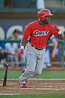 Cristian Gomez (35) of the Orem Owlz at bat against the Ogden Raptors at Lindquist Field on September 3, 2019 in Ogden, Utah. The Raptors defeated the Owlz 12-0. (Stephen Smith/Four Seam Images)