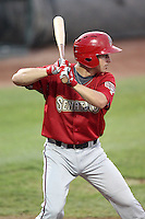 Harrisburg Senators outfielder Chris Rahl #18 at bat during a game against the Erie SeaWolves at Jerry Uht Park on August 6, 2011 in Erie, Pennsylvania.  Harrisburg defeated Erie 10-6.  (Mike Janes/Four Seam Images)