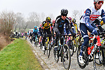 The peloton climb Wolvenberg during the 76th edition of Omloop Het Nieuwsblad 2021 running 200km from Gent to Ninove, Belgium. 27th February 2021  <br /> Picture: Serge Waldbillig | Cyclefile<br /> <br /> All photos usage must carry mandatory copyright credit (© Cyclefile | Serge Waldbillig)